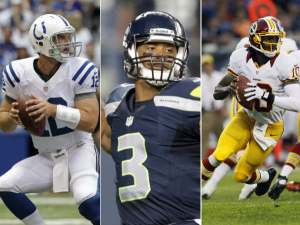 Rookie of the year candidates Andrew Luck, Russell Wilson, Robert Griffin III